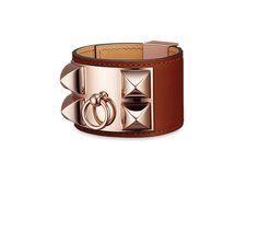 Bracelet en veau Swift, fermoir plaqué or rose Tour de poignet d'environ 17 cm