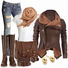 Conjuntos u Outfits con color Marr�n para Oto�o de Polyvore