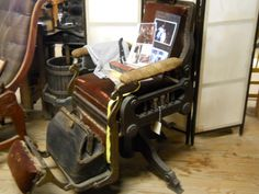 Old barbers chair.