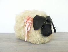 Vintage Handmade Wooden Sheep / Lamb Wool Fleece $26.00