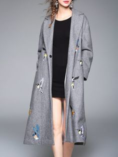 Grey Lapel Birds Embroidered Long Coat