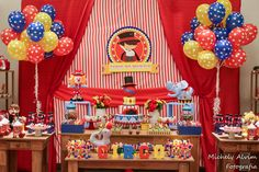 First Birthday Parties, Boy Birthday, First Birthdays, Birthday Decorations, Baby Shower Decorations, Cumple Paw Patrol, Magic Party, Ideas Para Fiestas, Circus Party