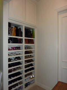 Build one half the height and include frosted glass door for entryway shoe storage.