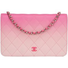 Pre-Owned Chanel Bi-Color Pink Quilted Lambskin Wallet On Chain (WOC) found on Polyvore