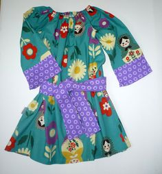 Toddler/girl Matryoshka dress  peasant / tunic by BenneboKids, $34.00