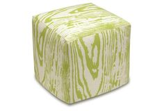 Faux Bois Linen Ottoman, Beige | One Kings Lane