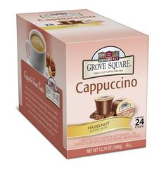 Grove Square Cappuccino, Hazelnut, 24 Single Serve Cups - http://teacoffeestore.com/grove-square-cappuccino-hazelnut-24-single-serve-cups/