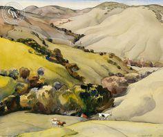 """Gaviota Range"" by Millard Sheets, American Artist – California Watercolor"