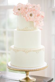 Brides: Elegant White Cake with Gold Piping