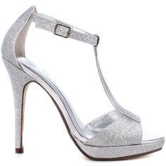 Michael Antonio Women's Tipton - Silver Glitter ($38) ❤ liked on Polyvore featuring shoes, sandals, heels, silver, t strap sandals, platform sandals, t strap platform sandal, silver platform sandals y silver shoes