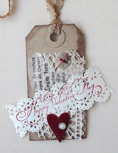 Mixed media heart tag for Valentine's day by Carolyn Saxby