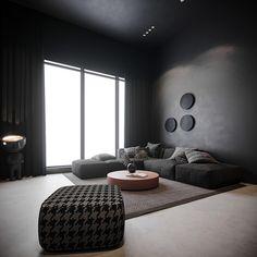Shaping Slick Dark Interiors With Black & Grey Decor Black Sofa Living Room Decor, Dark Living Rooms, Black Dining Set, Modern Sofa Designs, Modern Sectional, Dark Interiors, Gray Interior, Grey Walls, Black And Grey