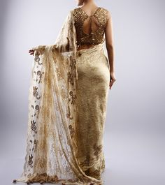 NEHA MEHTA COUTURE - Golden Chantilly Saree With Zardozi - BACK Click on the photo to #Shop this gorgeous #saree!
