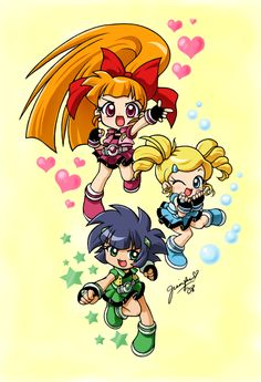Blossom Bubbles and Buttercup by chibi-jen-hen on DeviantArt Cartoon As Anime, Anime Chibi, Kawaii Anime, Cartoon Net, Powerpuff Girls D, Powerpuff Girls Wallpaper, Blossom Bubbles And Buttercup, Super Nana, Ppg And Rrb