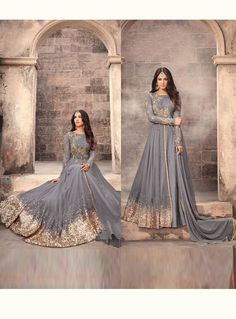 Buy Sonal Chauhan Gray Net Floor Length Anarkali Suit 126044 online at lowest price from vast collection at m.indianclothstore.c. Indian Gowns, Indian Wear, Indian Outfits, Indian Suits Punjabi, Indian Anarkali, Anarkali Dress, Anarkali Suits, Lehenga, Designer Gowns