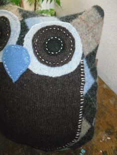 Blue Brown and Grey Owl Felted Pillow by ItsAbout316 on Etsy, $20.00