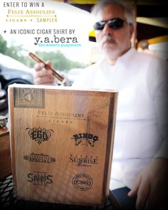 CONTEST We have teamed up with Y.A. Bera Clothing for a really exciting and one of a kind prize package. We are giving away:  We are giving away:  1 (ONE) CHOICE OF Y.A. BERA GUAYABERA AND 1 (ONE) FELIX ASSOULINE CIGAR SAMPLER Cigar Reviews, Assouline, Enter To Win, Cigars, Cigar Sampler, Blind, Modern, Clothing, Drinks