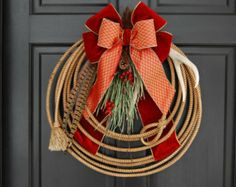 "Lariat Rope Wreaths | Christmas Lariat Antler Rope wreath "" Regal Christmas """