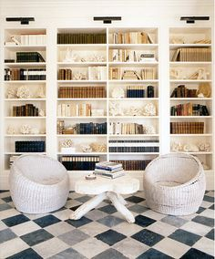 Floor to Ceiling bookshelves. The chairs are too contemporary, Need Wing back chairs instead.