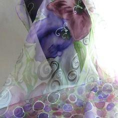 """Etole écharpe foulard en mousseline de soie peint main fleuri """" la…"""