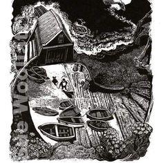 Lizard - Cornwall wood engraving