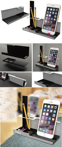 A Multi-purpose Office Desk Organizer Pen Pencil Holder Stand Smart Phone Mobile Phone iPad Dock Stand Remote Control Holder Organizer Memo Holder - Phone Stand / Pencil Holder / Business Card Holder Pencil Holder, Pen Holders, Steel Image, Metal Card Holder, Remote Control Holder, Metal Bending, Mobile Holder, Cnc Projects, Office Accessories