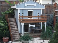 Architecture Inspiration. 15 More Cool Dog Houses Creative Designs And Images: Mesmerizing Old House Levels Cool Dog Houses With Tiny Balcony Added Wooden Stairs As Backyard Outdoor Small Dog House Designs
