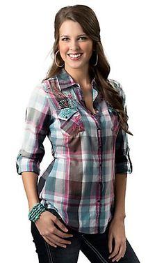 Roar Women's Totem Turquoise, Pink & Black Plaid w/ Embroidery & Rhinestones Long Sleeve Western Shirt