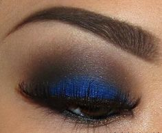 Pair brown eyeshadow with an unexpected pop of blue to make a gorgeous look.  It's the perfect look for a night out in the winter.