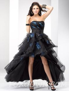 high-low black organza prom gown with sequin accents