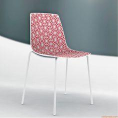 Alhambra | Sedia con seduta in tecnopolimero, rosso/bianco, metallo verniciato bianco