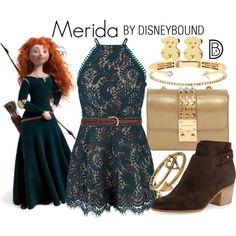 DisneyBound is meant to be inspiration for you to pull together your own outfits which work for your body and wallet whether from your closet or local mall. As to Disney artwork/properties: ©Disney Princess Inspired Outfits, Disney Themed Outfits, Disney Inspired Fashion, Character Inspired Outfits, Disney Dresses, Disney Clothes, Disney Fashion, Merida Outfit, Merida Dress