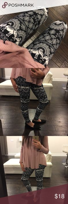 Elephant Leggings Everyone's favorite soft knit opaque leggings with elastic and at top and fleece lining. High rise. One size. Fits small (2) up to a large (up to 14) comfortably. Add to bundle to save 15% on two items or more from my closet. Viscosity Pants Leggings