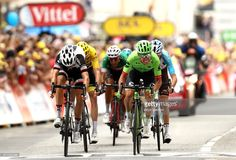 #TDF2017 Rigoberto Uran of Columbia and Cannondale Drapac Professional Cycling Team (R) wins the stage ahead of Warren Barguil of France and Team Sunweb (L) during stage nine of Le Tour de France 2017, a 182km stage between Nantua and Chambery on July 9, 2017 in Chambery, France.