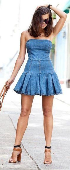 #spring #fashion | DIY Blue Denim Off Shoulder Pleated Mini Skater Dress  A Pair & A Spare