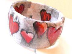 Heart Bracelet : Decoupaged paper jewelry, collage bracelet~by lindalinda