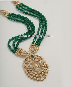 Emerald Beads Long Set by Tibarumal Jewels