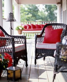Use of the red to draw the two areas together  10 Beautiful Front Porch Ideas | HomeandEventStyling.com