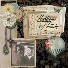 Gorgeous Heritage Layout by ScrappyDew from DSP.  Heritage, Vintage, Hot Air Balloon, Flowers, Epehermera, Pewter, Charms