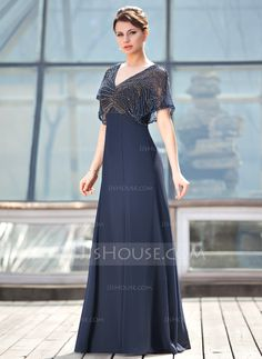 A-Line/Princess V-neck Floor-Length Beading Zipper Up Sleeves 1/2 Sleeves 2014 Dark Navy Spring Summer Fall General Plus Chiffon Mother of the Bride Dress