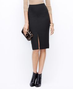 Tipped Tweed Pencil Skirt l Ann Taylor Perfectly tailored and hidden elasticized waist, this skirt will work all-day and all-night.