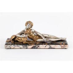 Art Deco Skulptur Bronze 1920/30 Frankreich junge Frau mit Hund signiert L. Bruns