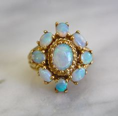 FIRE OPAL circa 1940s large 14K gold art deco by ingramcecil