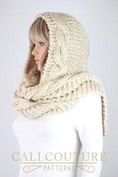 Knit Hooded Scarf Pattern Vail Hooded by CaliCouturePatterns Hooded Scarf Pattern, Crochet Hooded Scarf, Knit Crochet, Crochet Hats, Scarf Knit, Sweater Hat, Crochet Mermaid, Pattern Fashion, Hoods