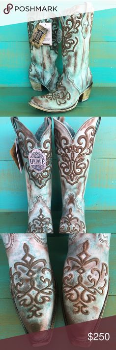 """Brand New Women's Corral Tan Turquoise Cowboy Boot Brand New With Tags Women's Corral Tan Turquoise Cord Stitch Boots, Size 8M. Absolutely Breathtaking! They are from Corral's """"Unique"""" Line. They are uniquely hand painted by the best boot makers in the world. Each and every Pair of this boot will be different, not two are alike. I own this boot myself, and absolutely my go getter boot! Originally $269.99 at Boot Barn & Most High End Western Stores. Wonderful Christmas Gift, so just treat…"""