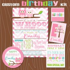 Custom Owl Birthday Party  Printable Kit by emmiecakes on Etsy