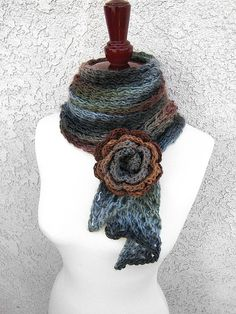 Ravelry: Magz Bias Scarf pattern by Veronica O'Neil - Free Download Pattern Available (go to my Crochet board for a flower brooch)