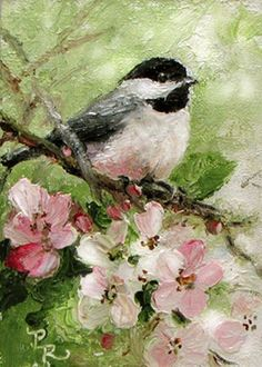 """CHICKADEE"".......PAINTING BY ARTIST PAULIE ROLLINS, OIL."