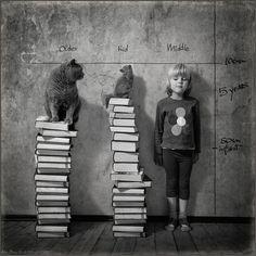 Una niña y su gato. Estatura