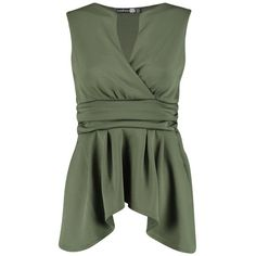 Boohoo Night Tina Dip Back Wrap Front Peplum Top (€23) ❤ liked on Polyvore featuring tops, embellished crop top, green body suit, lace cami top, peplum tops and body suit